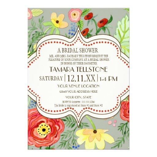 Mod Modern Floral Ranunculus Leaf Rose Bracket Custom Announcements