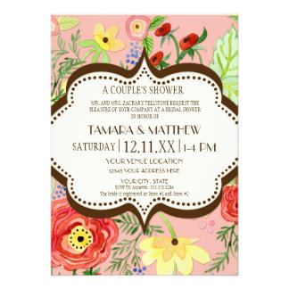 Mod Modern Floral Ranunculus Leaf Rose Bracket Custom Invite