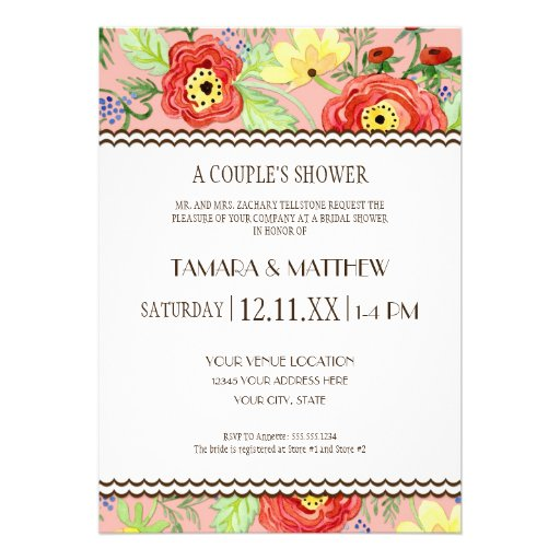Mod Modern Floral Ranunculus Leaf Rose Bracket Invitations