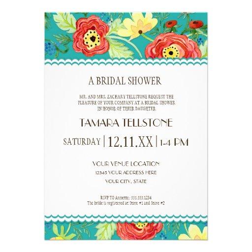 Mod Modern Floral Ranunculus Leaf Rose Bracket Custom Invitations