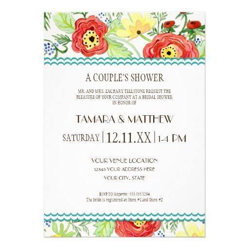 Mod Modern Floral Ranunculus Leaf Rose Bracket Custom Announcement