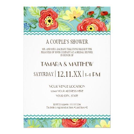 Mod Modern Floral Ranunculus Leaf Rose Bracket Personalized Invites