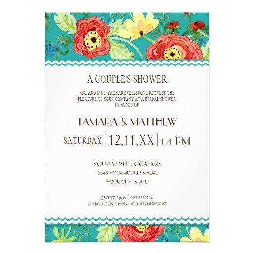 Mod Modern Floral Ranunculus Leaf Rose Bracket Custom Invites