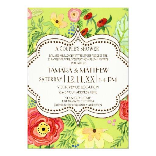 Mod Modern Floral Ranunculus Leaf Rose Bracket Personalized Invite
