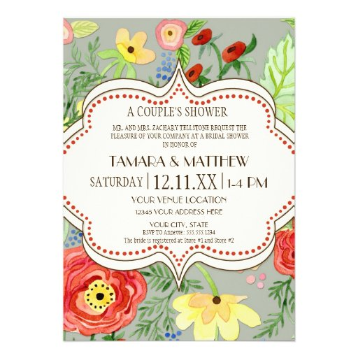 Mod Modern Floral Ranunculus Leaf Rose Bracket Invitation