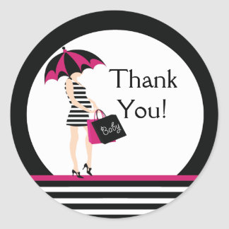 Mod Mom Thank You Baby Shower Sticker