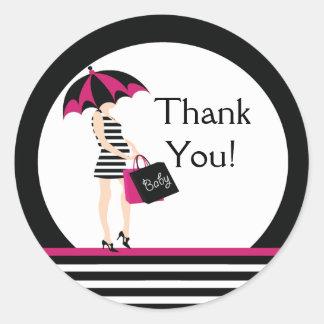 Mod Mom Thank You Baby Shower Sticker