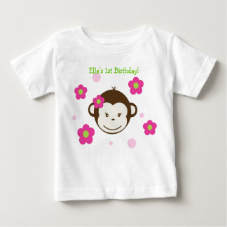 Mod Monkey Birthday Girl Tshirt Tee Shirt