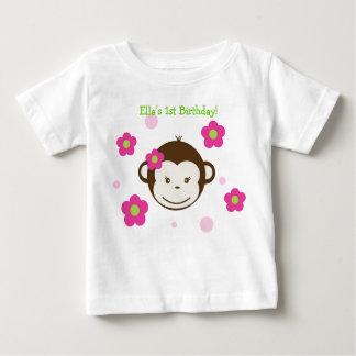 Mod Monkey Birthday Girl Tshirt Tee Shirt