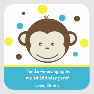 Mod Monkey Boy Birthday Party Thank You Stickers