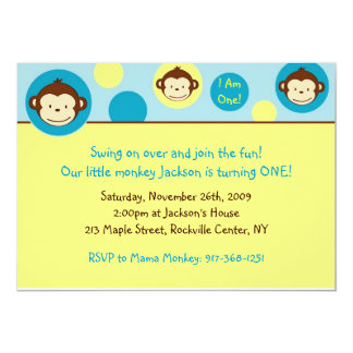Mod Monkey Custom Birthday Invitation
