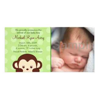 Mod Monkey Custom Photo Birth Announcements Photo Card