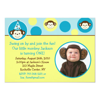 Mod Monkey Dot Custom Photo Birthday Invitations