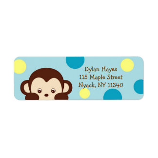 Mod Monkey Dots Birthday Address Labels