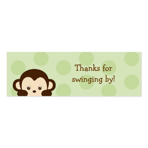 Mod Monkey Green Party Favor Gift Tags Business Card