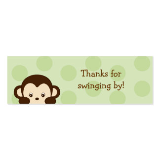 Mod Monkey Green Party Favor Gift Tags Pack Of Skinny Business Cards