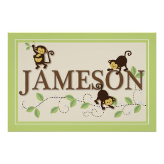 Mod Monkey Personalized Custom Baby Name Poster