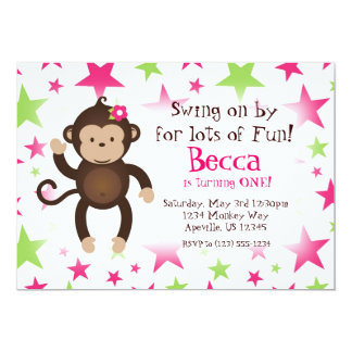 """Mod Monkey Pink and Green Star Birthday Party 5"""" X 7"""" Invitation Card"""