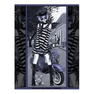 Mod Moped Urban City Fairy Misty Postcard