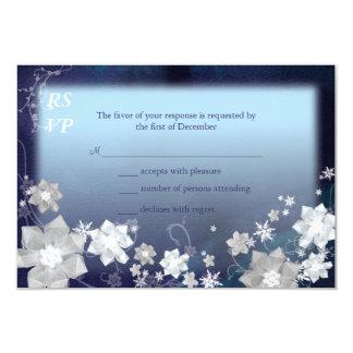 "Mod Navy Blue n White Floral Winter Wedding RSVP 3.5"" X 5"" Invitation Card"