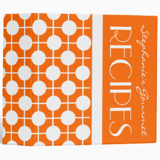 Mod Orange and White Polka Dot Recipe Binder