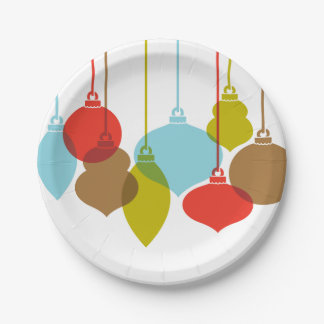 Mod Ornaments Retro Christmas Paper Plate