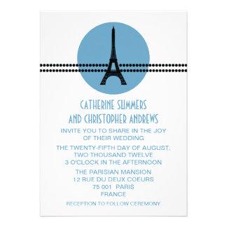 Mod Parisian Dots Wedding Invite, Blue