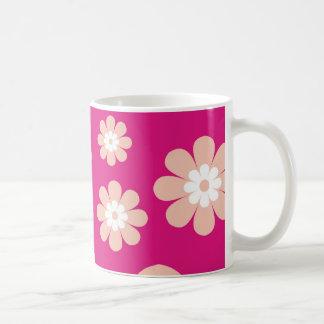 Mod Peach Flowers On Pink Coffee Mugs