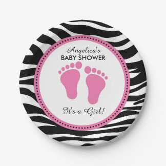 Mod Pink and Zebra Paper Party Plates, Baby Shower Paper Plate