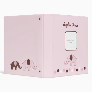 Mod Pink Elephant Baby Photo Album Vinyl Binders
