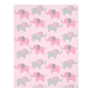 Mod Pink Grey Elephant Baby Scrapbook Paper Letterhead Template