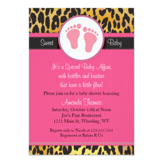 Mod Pink Leopard Print Baby Shower Invitation