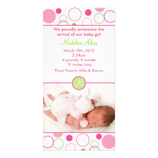Mod Polka Dot Circles Photo Birth Announcements Card