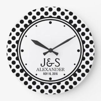 Mod Polka Dots Married Couple Personalized Clock
