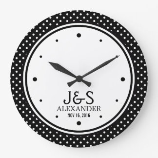 Mod Polka Dots Married Couple Personalized Wall Clock