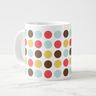 Mod polka dots modern personalized large coffee mug