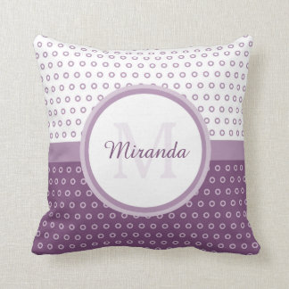 Mod Purple and White Polka Dots Monogram With Name Throw Pillow