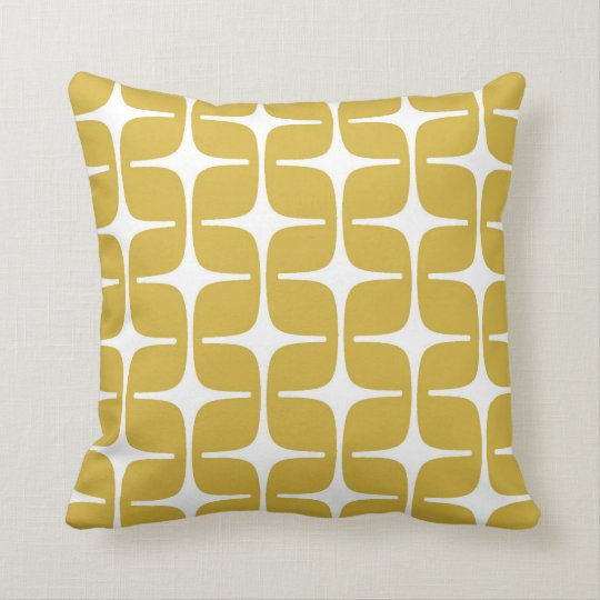 Mod Rectangles Pattern in Mustard and White Throw Pillow