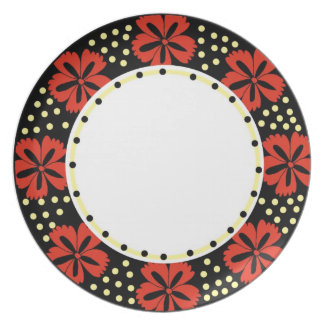 Mod Red Floral Pattern Dinner Plate