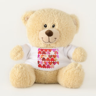 Mod Red Grungy Hearts Design Mod Red Grungy Heart Teddy Bear