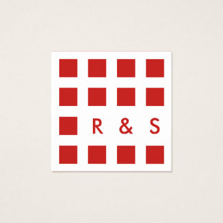 mod red squares square business card