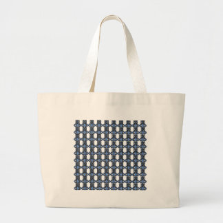 Mod Retro Blue Abstract Scarab Pattern Large Tote Bag
