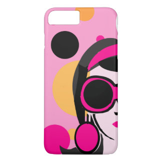 Mod Retro Girl Hot Pink Big Sunglasses iPhone 8 Plus/7 Plus Case