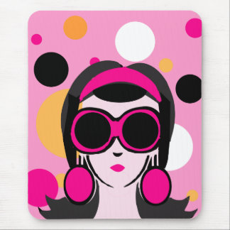 Mod Retro Girl Hot Pink Big Sunglasses Mouse Pad