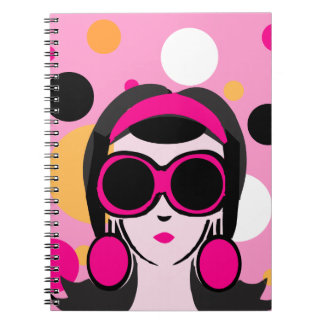 Mod Retro Girl Hot Pink Big Sunglasses Notebook