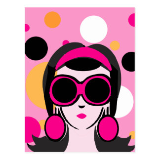 Mod Retro Girl Hot Pink Big Sunglasses Postcard