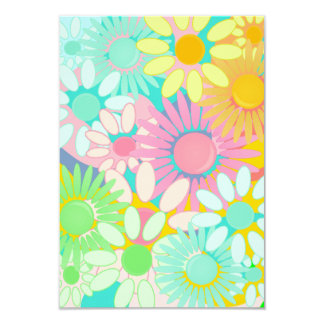 Mod Retro Hip 1960s 1970 Floral Party linvitations Card