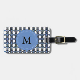 Mod Retro Monogram Blue Abstract Scarab Pattern Luggage Tag