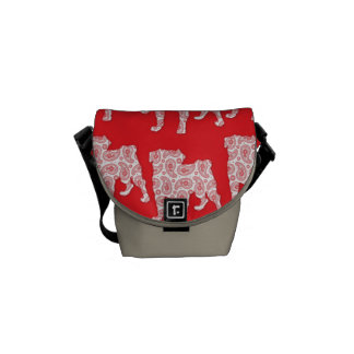 Mod Retro Paisley Pugs - Red Courier Bags