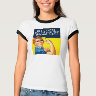 Mod Retro Rosie the Riveter Cancer T-shirt